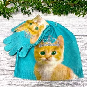 🌿NEW Cat w/Crown Girls Hat and Glove Set🌿